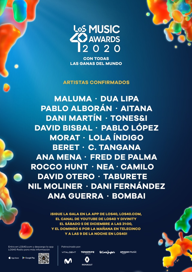 LOS40 Music Awards 2020 anuncia su cartel y fecha